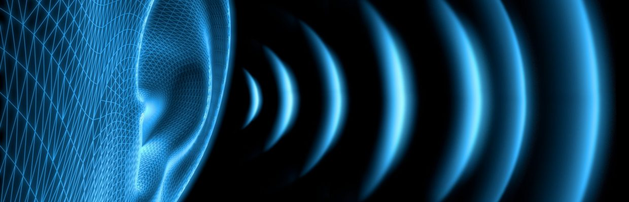 3D graphic image of soundwaves next to an ear